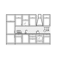 kitchen furniture in linear style vector image