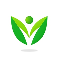 leaf people nature ecology logo vector image