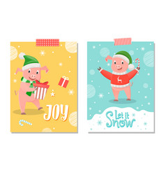 let it snow and joy postcard pig new year symbol vector image