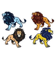 Lion roaring stance esport mascot logo vector