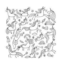 magic unicorns collection sketch for your design vector image