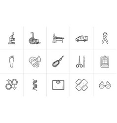medicine hand drawn outline doodle icon set vector image