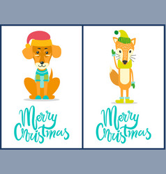 merry christmas dog and fox vector image