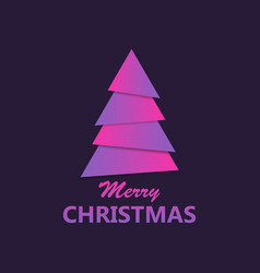 merry christmas paper christmas tree purple vector image