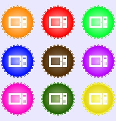 microwave icon sign A set of nine different vector image