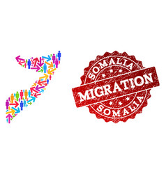 Migration collage of mosaic map of somalia and vector