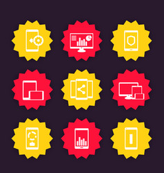 Mobile desktop apps icons set vector