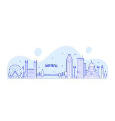 montreal skyline canada city buildings line vector image