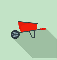 one wheel barrow icon flat style vector image