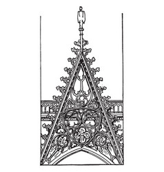Openwork gable from front of rouen cathedral vector