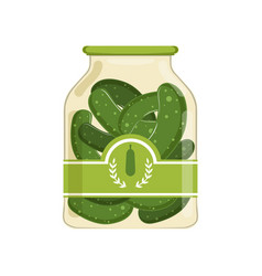 Pickled cucumbers in glass jar with brand label vector