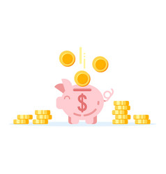 Piggy bank with golden coins vector