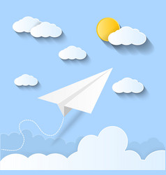 plane flying on sky paper art style vector image