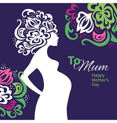 Pregnant woman silhouette with floral background vector image