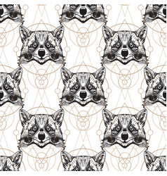 Raccoon muzzles seamless pattern for the design vector