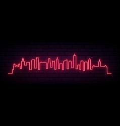 Red neon skyline minneapolis city city bright vector