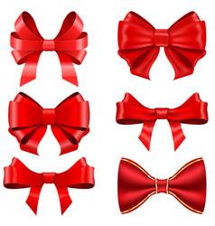 red ribbon bows set shiny 3d symbols vector image