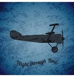 retro airplane on blue grunge background vector image