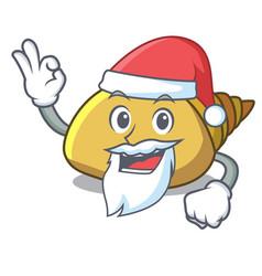 Santa mollusk shell mascot cartoon vector