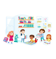schoolboys and schoolgirls with books and vector image