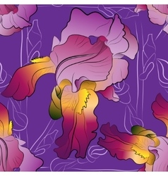Seamless pattern of irises purple vector image