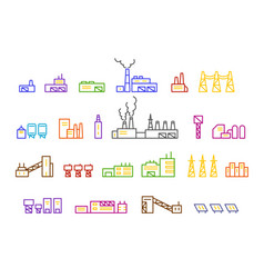 set of factory production vector image