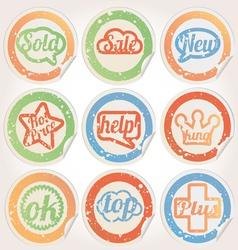 set sticker paper grunge vector image