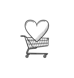 shopping cart with heart hand drawn outline doodle vector image