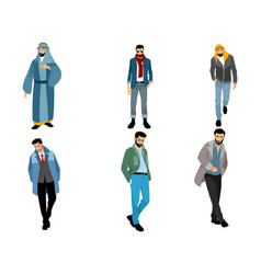 six modern muslim men vector image