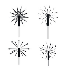 Sparkler fireworks bonfire icons set simple style vector