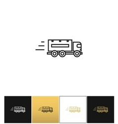 Speeding delivery symbol or truck linear vector image