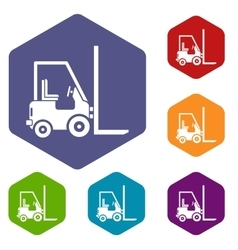 Stacker loader icons set vector