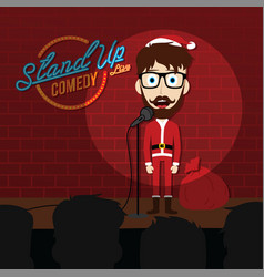 Stand up comedy comic santa claus vector