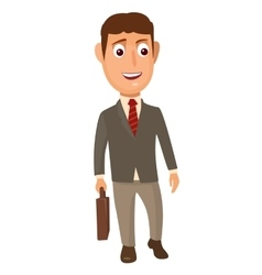 standing businessman holding a briefcase vector image