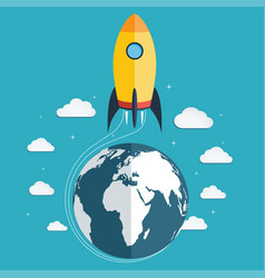 start up the space rocket into space vector image vector image