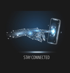 stay connected polygonal art style vector image