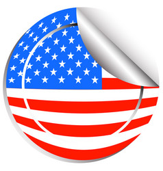 Sticker design for flag of usa vector