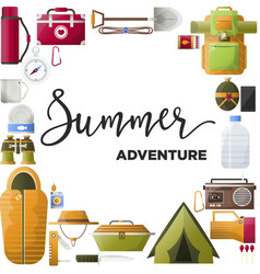 Summer adventure promo poster with equipment for vector