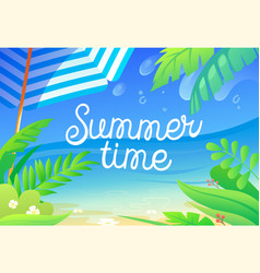 Summer time colorful banner with tropical plants vector