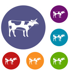 Switzerland cow icons set vector