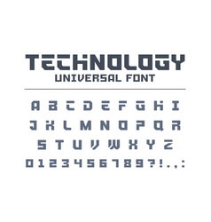 Technology universal font type strong sport vector