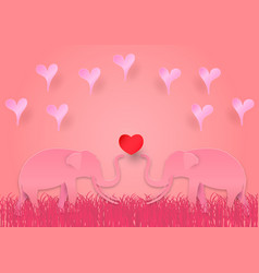 valentines day concept with elephant and heart vector image