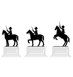 various poses pictograph equestrian statues vector image