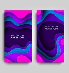 Vertical banners paper cut paper art in violet vector