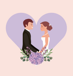 wedding card bride and groom holding hands in vector image