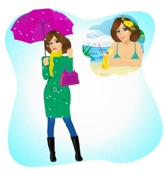 Woman longing for sunny summer beach vacations vector