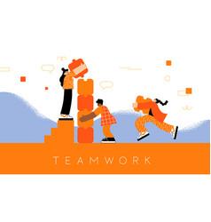 women teamwork concept building puzzle vector image