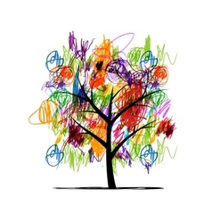 Abstract tree with children paintings vector image vector image