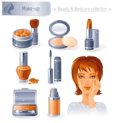 Beauty and cosmetics icon set with beautiful young vector