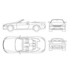 cabriolet car in outline cabrio coupe vehicle vector image